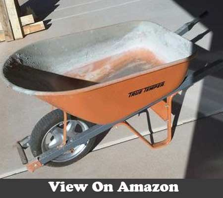 6 Cu Ft Wheelbarrow with steel handles and flat