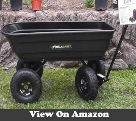 Gorilla Carts Poly Garden Dump Cart with Steel Frame and 10 in Pneumatic Tires 600 Pound Capacity Black