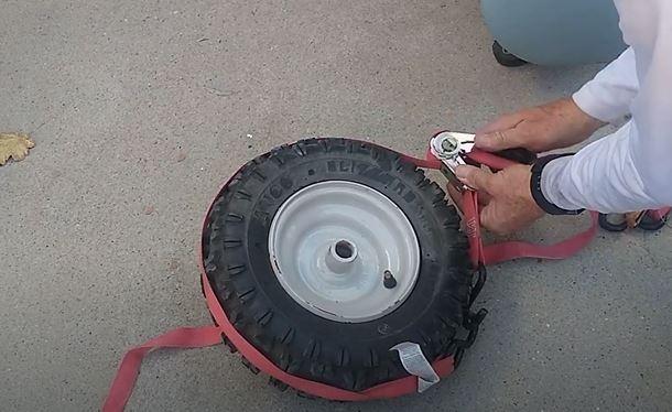 inflating flat wheelbarrow tire