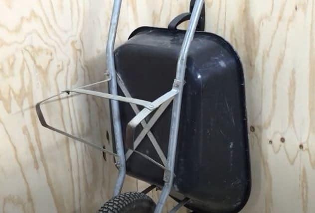 wheelbarrow storage on brakets