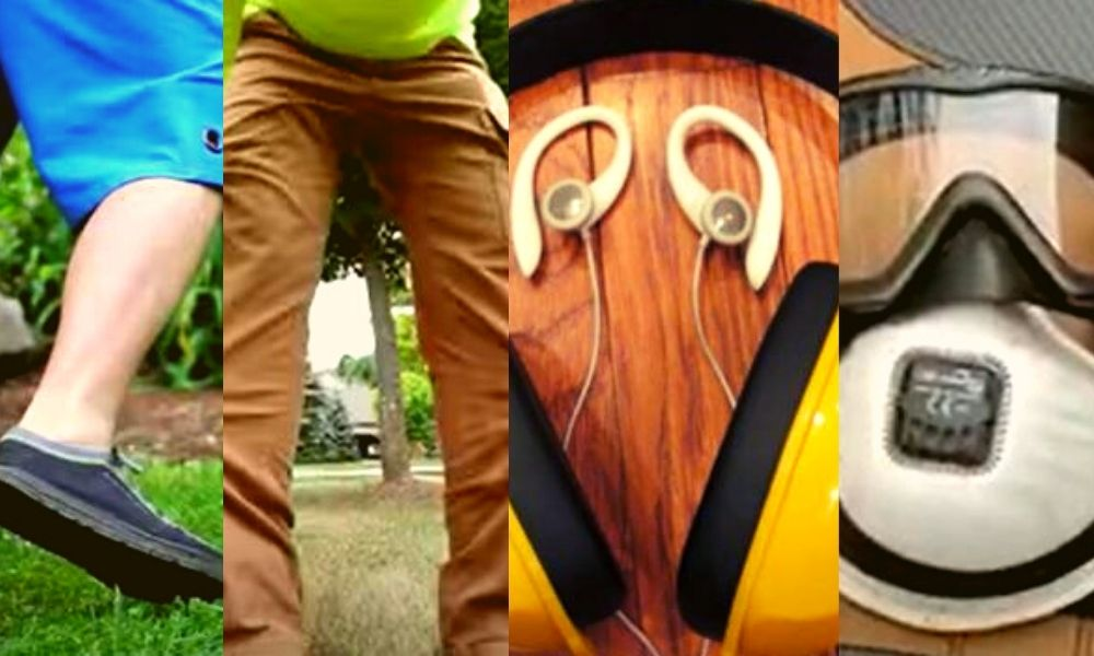 shoes, outfit & accessories for lawn mowing