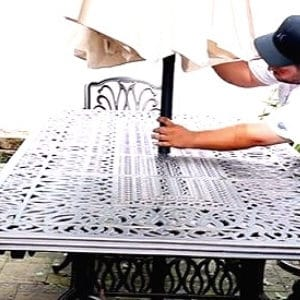 keep your patio umbrella from blowing away using durable table