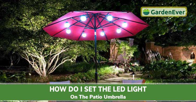 set the LED light on the patio umbrella