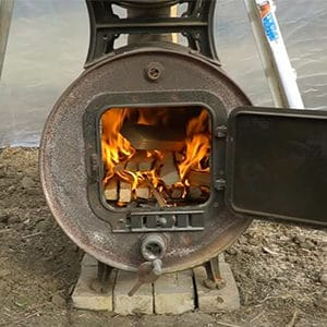 wood burning stove for greenhouse heating