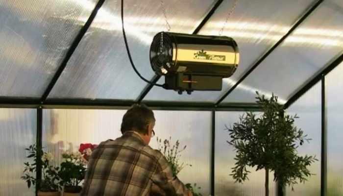 fan heater in greenhouse
